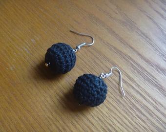 black crochet earrings, ecofriendly globe earrings