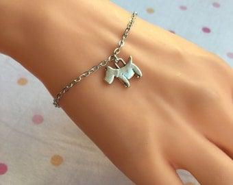 Silver Dog Charm Bracelet, Child Jewelry, Kids Bracelet, Dog Charm Anklet, Ankle Bracelet, Gift for Kids, Toddler Bracelet, Little Girl Gift