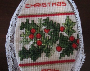 Holly Jolly Cross Stitch Christmas Tree Ornament