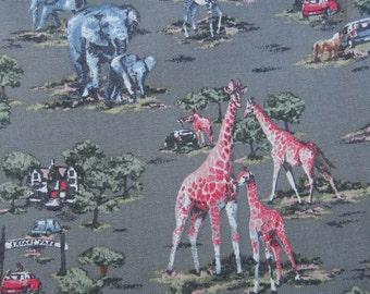 "1/2m Cath Kidston. Cotton Upholstery Fabric. Safari Zoo Khaki. 145cm Wide. (19"" x 57"") Heavy Canvas."
