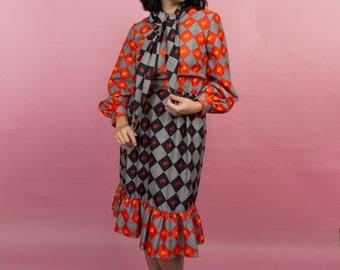 Vintage 70s Multi-Color Patchwork Design Long Sleeve Scarf Neck Dress With Ruffled Hem Size M