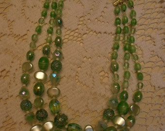 Beautiful Vintage All Glass Green Signed West Germany Choker Necklace