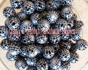 12mm Spiderweb Print Black Beads  -  Chunky Necklaces - Set of 10 - Black and White