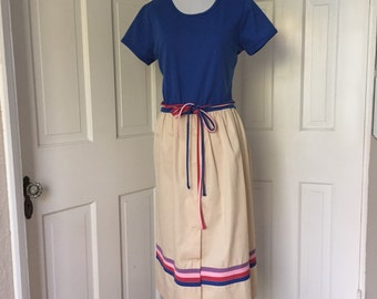 70's royal blue and tan day dress with contrasting belt / trim