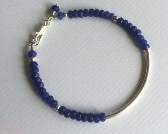 Semi precious blue agate and sterling silver stacking bracelet