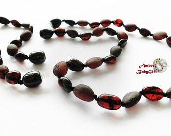 """SALE->Pure Raw / Polished Baltic Amber Set - Necklace 12.5""""-13.0""""and Bracelet / Anklet 5.5"""" - 5.9""""- Cherry Amber Beads - Screw clasp, 26R"""