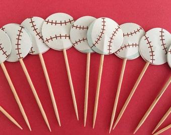 Baseball cupcake toppers,