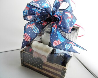 American Patriotic theme Gift Basket / USA Soap and Candle gift Set in wood chest / 4th of July gift / Americana
