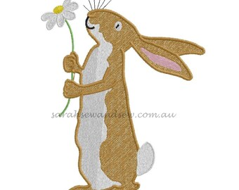 Guess How Much I Love You Embroidery Design - Bunny & Flower