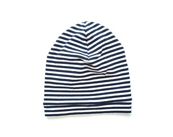 SALE - Organic Baby|Toddler Slouch Beanie || Black Stripe