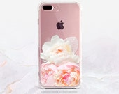 iPhone 7 Peonies Clear GRIP Rubber Case iPhone 7 Plus Clear Case iPhone 6 Clear Case iPhone 6S Case iPhone SE Case Samsung S7 Edge Case U145