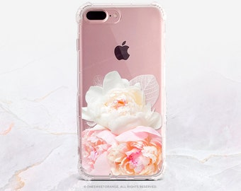iPhone 7 Case Peonies Clear GRIP Rubber Case iPhone 7 Plus Clear Case iPhone 6 Case iPhone 6S Case iPhone SE Case Samsung S7 Edge Case U145