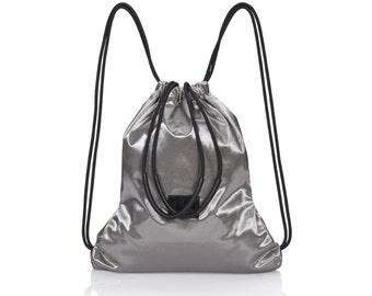 Sports bag - silver canvas backpack - sack bag - multi-way canvas rucksack for women SALE summer bag - waterproof backpack - unisex backpack