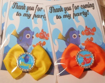 Set of 6 or More Finding Dory Inspired Glitter Bottlecap Bow Party Favors