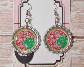 May Your Sweater Be Ugly & Bright Glitter Bottlecap Earrings