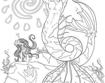 Merstud, DIY Print at Home Digital Download Coloring Page, Adult Coloring, Mermaid, Merman, Beach, Ocean, Humor, Fantasy