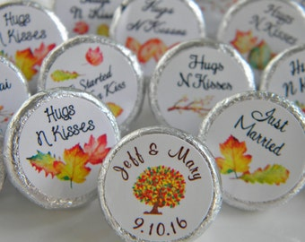 Hershey Kiss Stickers Wedding - Wedding Favors - Fall Wedding Favors - Fall Wedding Hershey Kisses - Fall Wedding Hershey Kiss Stickers