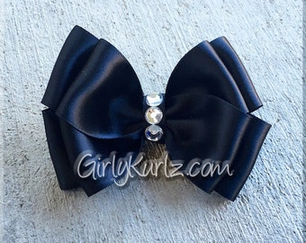 Black Satin Layered Hair Bow Easter Hair Bow Special Occasion Bow Wedding Hair Bow