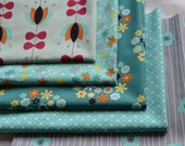 Fat Quarter Bundle, Nordica by Jeni Baker, Art Gallery Fabrics,  Aqua, Teal, Flowers, Quilting, Clothing, Crafts, Cotton Sewing Material