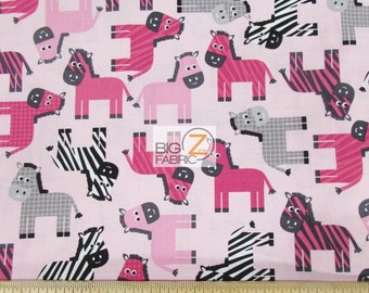 Urban Zoologie Zebra Toss Pink By Robert Kaufman 100% Cotton Fabric By The Yard (FH-2616) Clothing Decor Garments Animals
