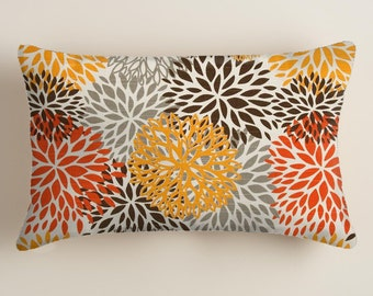 Orange   Lumbar Throw Pillow Covers Blooms One 12 X 18. Decorative Throw Pillows. Pillows Covers.12 X 18 Fabric front and back . Gray