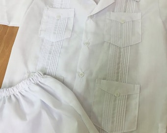White Guayabera Set