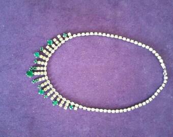 Pretty green 1950's diamanté paste necklace, emerald effect