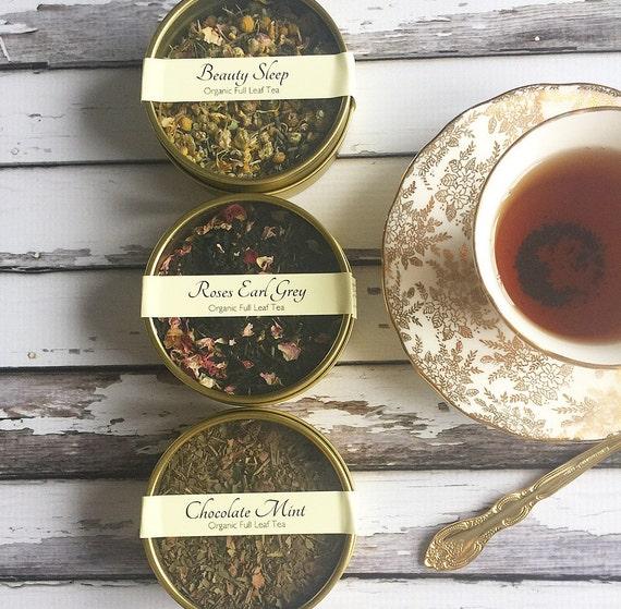 Organic Full Leaf Tea - Trio Gold Tea Tins Set - Tea Lovers Gift - Tea - Tea Gift  / Favors / Bridesmaids Gift / Set of 3