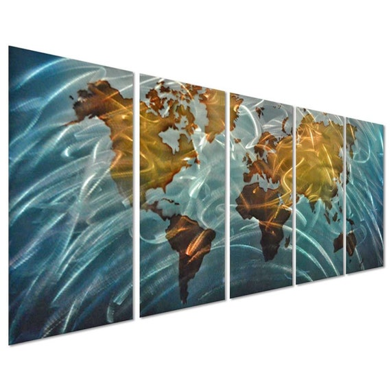 Modern abstract painting metal wall art sculpture world map gumiabroncs Gallery