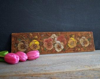 Vintage Folk Art Painted Flowers | Pyrography Wood Art | Pyro Art | Painted Pansies | Spring Flowers | Antique Art on Board | Pansy Flower