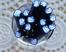 1 Piece.5mm Blue Cute Kitty Polymer Clay Cane . Craft Supplies. Jewellery Supplies