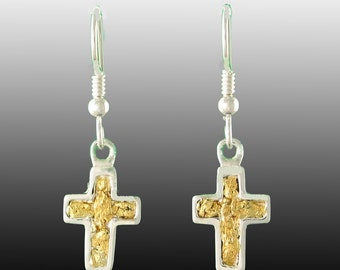 Style 276 Silver Cross Earrings with 22Kt Natural Gold Inlay