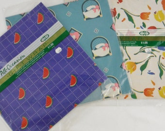 Vintage late 80's/ early 90's gift wrap- 3 packages