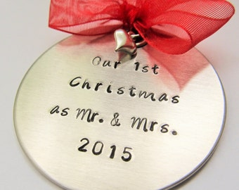 Our First Christmas Ornament - Personalized Ornament  Couples Ornament Our First Christmas as Mr and Mrs Ornament