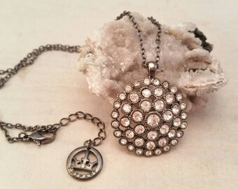 Vintage Trifari rhinestone and gunmetal necklace