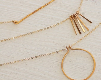 Dainty Gold Bar Necklace, circle necklace, Thin Gold Bar Necklace, Simple minimal jewelry , paddles bar Gift for Wife/ Gift for girlfriend
