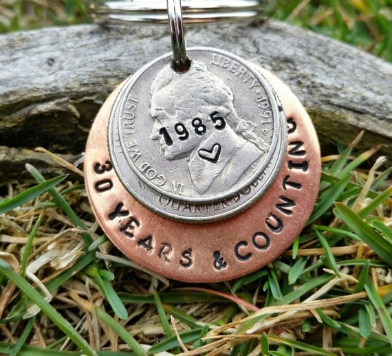 Wedding Anniversary Gifts For Husband Ideas: 30 Year Anniversary Keychain 30th Anniversary By TiffysLove