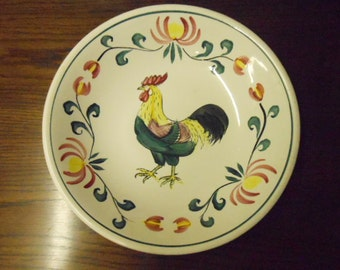 "Fun Vintage Rooster Motif Serving Bowl 11"" Hand Painted Ironstone Dish Made in Japan Colorful China for Kitchen Decor"