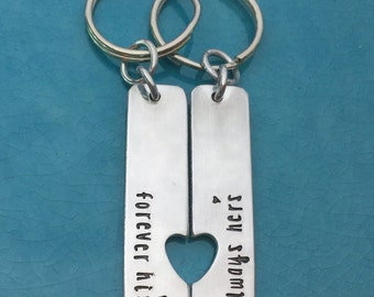 Hand Stamped, forever his, always her's, Anniversary Date, Special Date, Couples Keychain, Valentine's Gift, Key Chain Set, Personalized