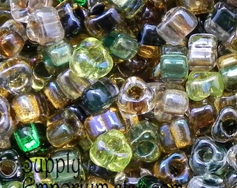 5/0 Miyuki Earthtone Triangle Seed Bead Mix - 16 grams - Miyuki 5/0 E Bead Mix07 - Earth Tone Mix Triangle Beads - 1815