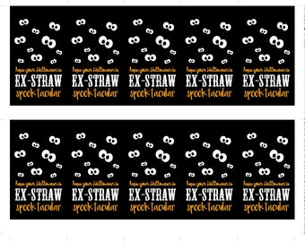 Straw Halloween Tags Printable Non-Candy Halloween Treats Halloween Favors Halloween Gift Tags Halloween Favor Tags Straw Tags Straw Favors