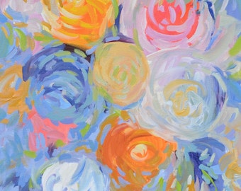 Contemporary Flower Painting on Canvas Abstract Modern Acrylic Original floral Painting  24 X 24  beige pink modern circles pastel colors