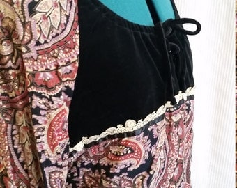 1970s paisley peasant top and skirt