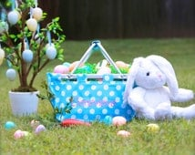 Monogrammed Aqua w/White Polka-dot Mini-Small Market Tote is perfect to use as an Easter basket and beach-pool-lake tote! Ships in 3 days!