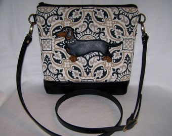 MADE TO ORDER - New Appliqued Smooth Hair Black and Tan Dachshund with Beaded Collar - Cross Body - Handbag - Purse