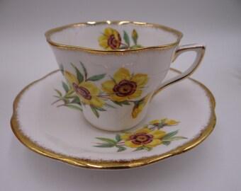 Vintage English Rosina English Bone China Yellow Daisy Teacup and Saucer - English teacup