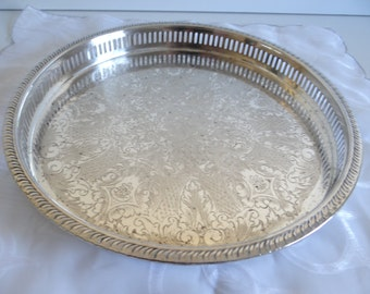 Round Silverplate Waiters Tray with Reticulated Rope Edge - Elegant Serving Piece - Home Decor