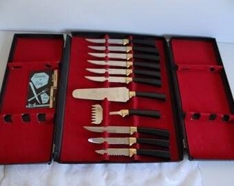 Regent Sheffield Knife Set in Original Box - Sheffield England - Steak Knife Set - Steak Knives - Server