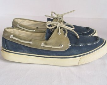 Navy Chino Sperry Top Sider Canvas Boat Shoes Preppy Ladies size 10 M Vintage shoes in excellent vitnage condition.