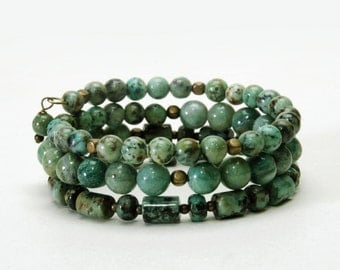 African Turquoise and Jade Layered Gemstone Memory Wire Bracelet - Jade Green Natural Stone Bracelet